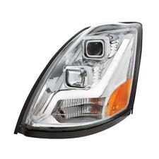 2004+ Volvo VN/VNL Projection Headlight, Chrome, LED Position Light Bar - Driver