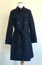$350 NWT Jcrew Womens 12P Icon Trench Coat In Wool Cashmere Navy Blue 30915 P12
