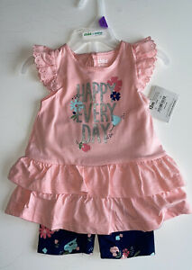 NWT!! Baby Girl CARTER'S  2-piece Short And Top Outfit Set Size 12 Months