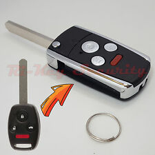New Flip Key Modified Case Shell For Honda Remote Key 4 Buttons With Chip Holder