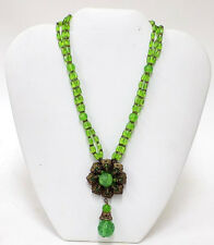 Signed Miriam Haskell Green Art Glass Necklace Hand Wired Pendant