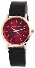 Excellanc Damenuhr Zifferblatt Bordeaux Rot Armband Schwarz Armbanduhr SE183