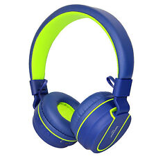 Rockpapa Over Ear Adjustable Foldable Bluetooth Headphones Wireless Headsets Blue Green