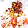 Autumn Maple Leaf Nail Art Glitter Sequins Spangle Flakes Sticker Tips Beauty