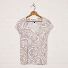 American Eagle Outfitters Gray White Floral Print Jersey T-Shirt Blouse Top S