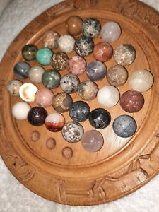37spc. Impressive Semi-precious Stone Peg Solitaire Set 34 Pieces