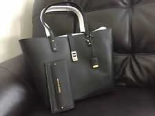 NWT Michael Kors Karson Large Carryall Leather Tote Bag & Wallet Set ( Black )