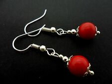 A PAIR OF SHORT RED CORAL BEAD  DROP EARRINGS. NEW. 8MM.