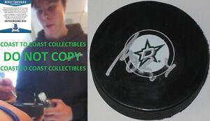 Miro Heiskanen autographed Dallas Stars logo Hockey Puck exact proof Beckett COA