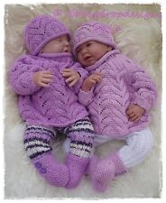 Honeydropdesigns * SUGAR PLUM * PAPER KNITTING PATTERN * Reborn/Baby 0-3 Months