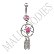 B102 Hot Pink Dreamcatcher Dream Catcher Belly Navel Ring Feathers Bead Surgical