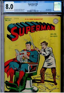 Superman #38 CGC 8.0  Lex Luthor; Superman reading Batman # 32  NEW MOVIE!