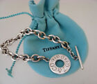 TIFFANY & CO STERLING SILVER 1837 CHAIN LINK TOGGLE BRACELET WITH POUCH