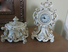 Beautiful Shabby Chic Clock & Jewelry/Notions Set Victorian, Baroque, French