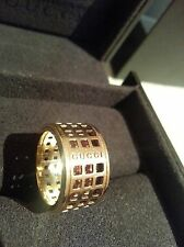 18ct solid gold Gucci Spinner wide band ring - UK size L¼, original Gucci box
