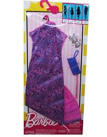 Genuine Mattel Barbie Doll Clothes Pink Long Dress Bracelet Purse Fashion Pack