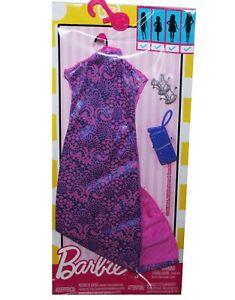 Genuine Mattel Barbie Doll Clothes Pink Long Dress Bracelet Purse Fashion Pack