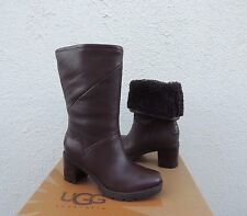 UGG JESSIA BROWN WATER-RESISTANT LEATHER SHEEPSKIN BOOTS, US 7/ EUR 38 ~NEW