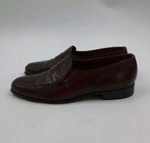 Vintage FLORSHEIM IMPERIAL Burgundy Alligator Look! Loafers Size 8.5
