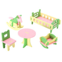 Retro Doll House Miniature Nursery Room Wooden Furniture Set Kids Role Play Toys