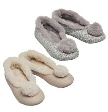 Ladies Bedroom Athletics Faux Fur Lined Ballerina Slippers Sizes from 3 to 8
