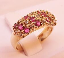 10K YELLOW GOLD 3/4 cttw RED PINK RUBY & DIAMOND CLUSTER RING BAND Size 6