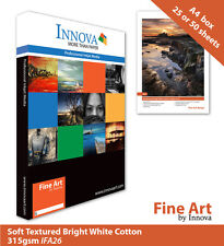 Innova Soft Textured Bright White Cotton Inkjet Paper 315g A4 25 (IFA-26-A4-25)