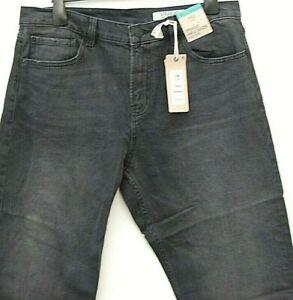Ladies Denim Jeans Straight Black High Rise Ankle Grazer Size14 Marks & Spencer