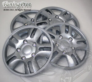 """Hubcap 15"""" Inch Wheel Rim Skin Cover 4pcs Set with Improved ABS Tab Style #B006"""