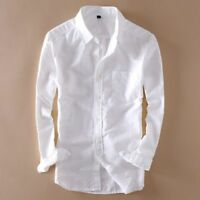 Mens Linen Cotton Long Sleeve Slim Fit Shirts Thin Sunscreen casual shirt