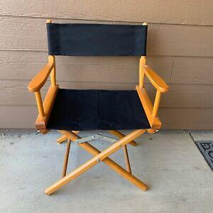 Vintage Directors Chair Honey New Black Seat Gold Medal Folding Furniture USA