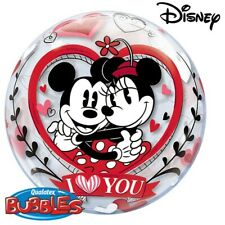 """Mickey & Minnie Mouse I Love You Qualatex 22"""" Bubble Balloon"""