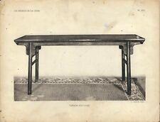 Stampa antica TAVOLO CINESE IN LEGNO LACCATO CINA CHINA 1922 Antique print T. 16