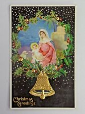 Vtg. Christmas Greetings Angel Holding Child Bell 1910 Post Postcard 1884