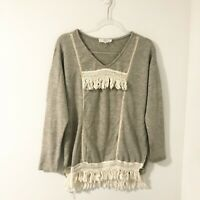 Entro Fringe Crochet Boho Knit Sweater Women's Size Small