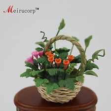 Dollhouse 1:12 Scale Miniature Realistic Flower and Woven basket 09982