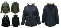 Brand New Long Jacket Parker Fleece Lined Hood Black Navy Green Parka Coat