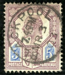 GB KEVII Stamp SG.242 5d (1902) DLR Used Blackpool 1904 CDS Cat £22+50% RRED87