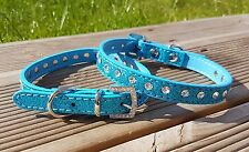 Dog Collar PU Leather Puppy Jack Pug Pom Chi for XS Small Diamante Glitter Bling X-small 21-28cm W 1cm Blue
