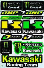 5 sheet Racing ATV Helmet dirt bike motocross Car Track Green Kawa Stickers #C