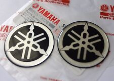 2 x YAMAHA 100% GENUINE 45mm TUNING FORK LOGO BLACK SILVER DECAL EMBLEM STICKER