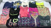 Girls medium tops shirt mixed lot 15 wholesale kid child graphic multicolor x68