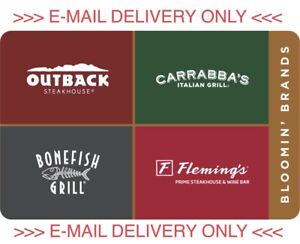 $111 outback carrabas Fleming's bonefish gift card Certificate email delivery