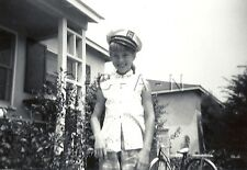 Original Vintage 1950s Large RP- Young Girl With Sailor Hat- Capitan- Bicycle