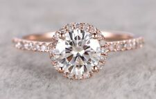 Ring Natural Diamond 14k Rose Gold 1.51 Ct Round Cut Halo Moissanite Engagement