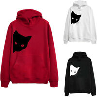 Womens Ladies Long Sleeve Cat Print Tops Tee Hoodie Sweatshirt Pullover Blouse