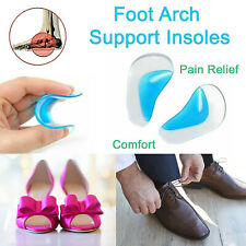 Foot Arch Support Insoles Orthotic Pain Relief Gel Silicone Pad Shoe Inserts