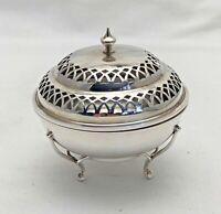 Antique Sterling Solid Silver Pot Purri Pomander Box 1911 (1153-9-ENY)