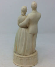Vintage Chalkware Wedding Cake Topper Bride & Groom Couple
