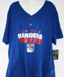 NEW Womens Majestic New York NY Rangers V Neck Blue Logo Style NHL Hockey Shirt